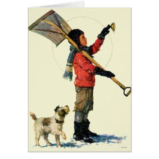 Cartão Pato-colhereiro da neve