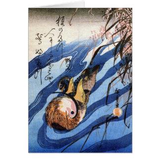 Cartão Pato de mandarino, Hiroshige