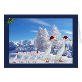 Cartão Pato do corredor do Natal