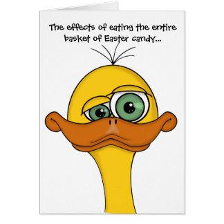 Cartão Pato engraçado dos desenhos animados da páscoa