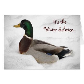 Cartão Pato no solstício de inverno da neve