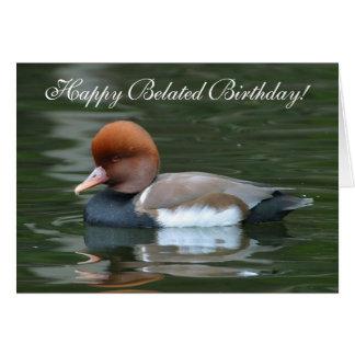 Cartão Pato selvagem do aniversário tardivo feliz