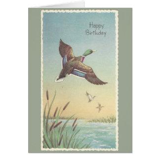 Cartão Pato selvagem do feliz aniversario do vintage
