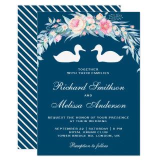 Cartão Patos florais românticos elegantes que Wedding o