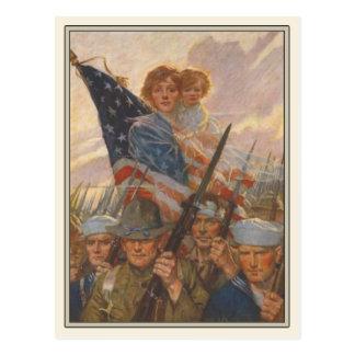 Cartão patriótico com o poster da propaganda de WW Cartão Postal