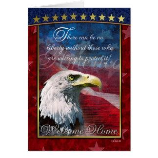 Cartão patriótico da casa da boa vinda da águia