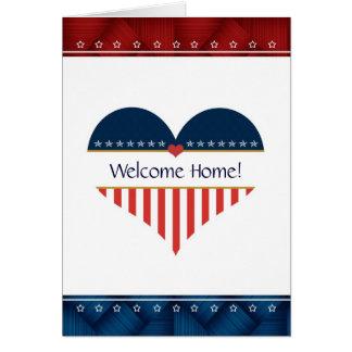 Cartão patriótico da casa da boa vinda do coração