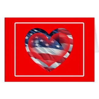 Cartão patriótico de dois corações