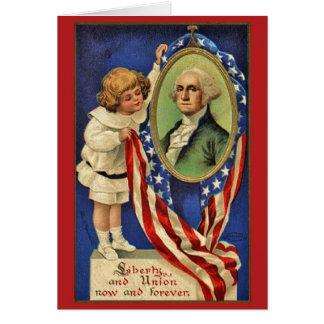Cartão patriótico de George Washington do vintage