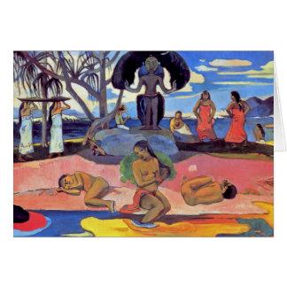 Cartão Paul Gauguin - dia dos deuses - pintura das belas