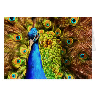 Cartão Pavão colorido