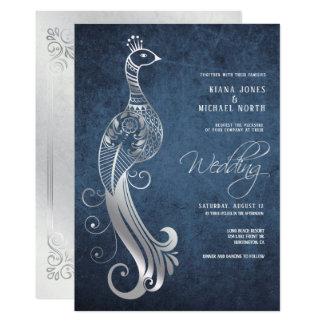 Cartão Pavão de prata que Wedding ID486 azul