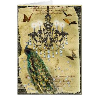 Cartão Pavão e candelabro franceses