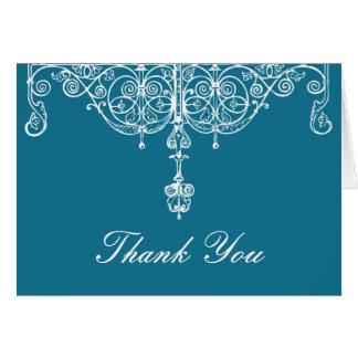 Cartão Pavão e obrigado que branco de Scrollwork você