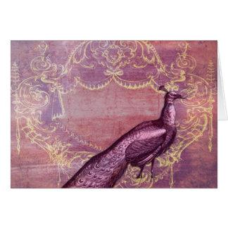 Cartão Pavão francês Rococo no roxo