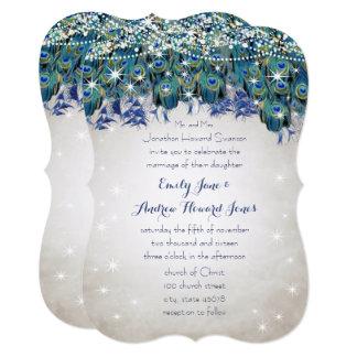 Cartão Pavão Luxe rústico de turquesa do marinho do