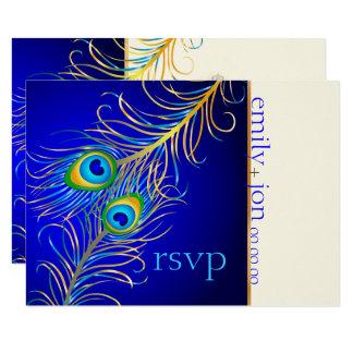 Cartão Pavão psicadélico/azuis cobaltos de PixDezines