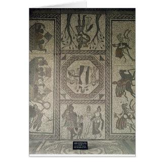 Cartão Pavimento de mosaico da casa de campo romana no