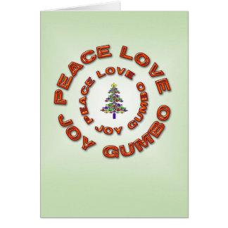 Cartão Paz, amor, alegria, árvore do Xmas da flor de lis