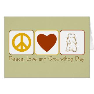 Cartão Paz, amor e dia de Groundhog