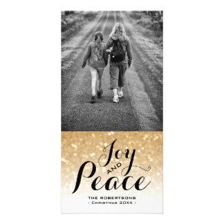Cartão Paz da alegria do brilho de Ombre do ouro dos