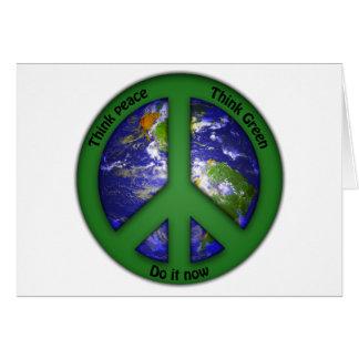 Cartão Paz de mundo - verde do mundo