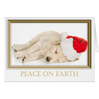 Cartão Paz do filhote de cachorro do papai noel na terra