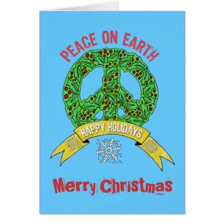 Cartão Paz do sinal de paz da grinalda no Feliz Natal da