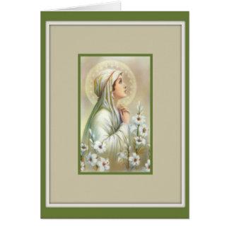 Cartão Paz mental dos lírios de Madonna da Virgem Maria