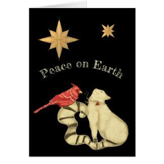 Cartão Paz no gato e no pássaro do Natal da terra