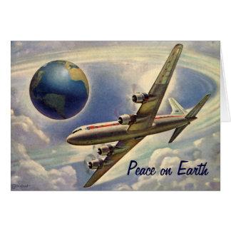 Cartão Paz no Natal da terra, mundo do avião do vintage