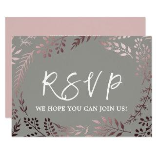 Cartão Pedido cor-de-rosa elegante RSVP da canção do ouro
