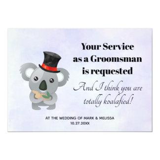 Cartão Pedido do padrinho de casamento com Koala em um