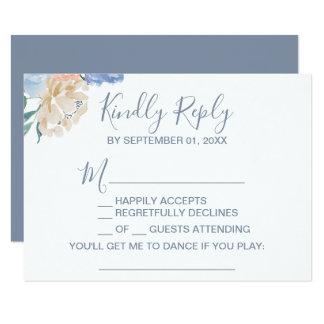 Cartão Pedido floral azul empoeirado RSVP da canção
