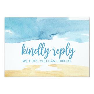 Cartão Pedido RSVP da canção da areia e do mar da