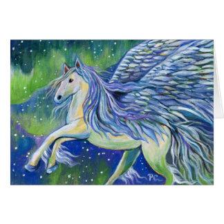 Cartão Pegasus na luz do norte