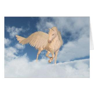 Cartão Pegasus que olha para baixo através das nuvens