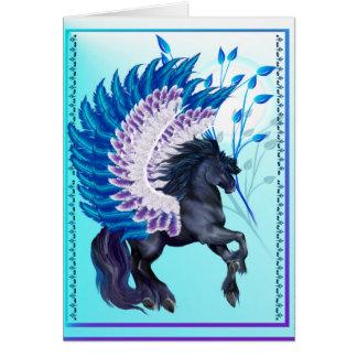 Cartão Pegasus voado azul