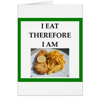 Cartão peixe com batatas fritas