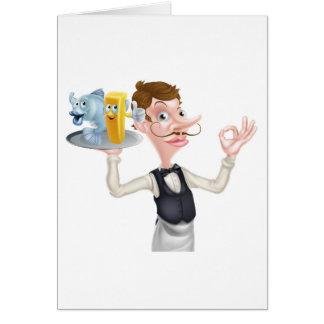 Cartão Peixes do garçom dos desenhos animados e mascote