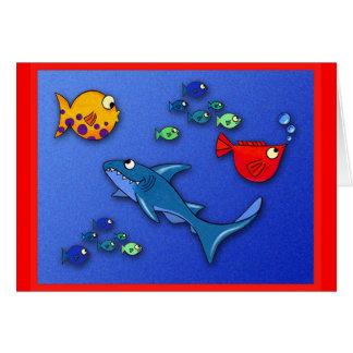 Cartão Peixes malucos com tubarão