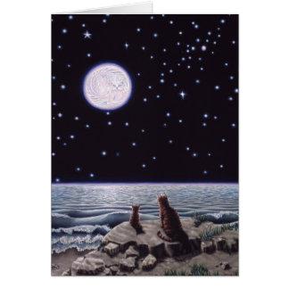 Cartão Pela luz da lua dos peixes do gato