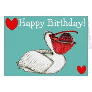 Cartão Pelican with birthday cake