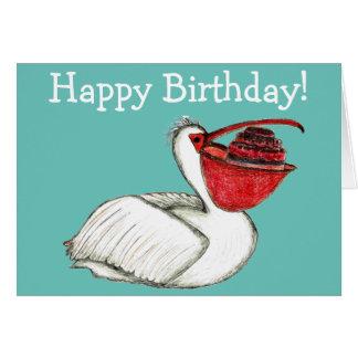 Cartão Pelicano com bolo de aniversário