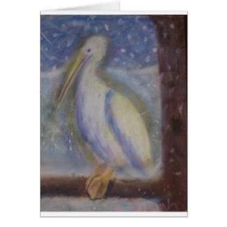 Cartão Pelicano nevado de Glowy
