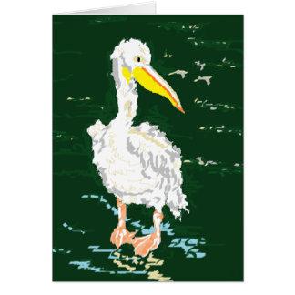 Cartão Pelicano que aprecia o tempo sozinho
