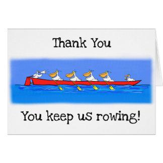 Cartão Pelicanos engraçados que enfileiram o obrigado que