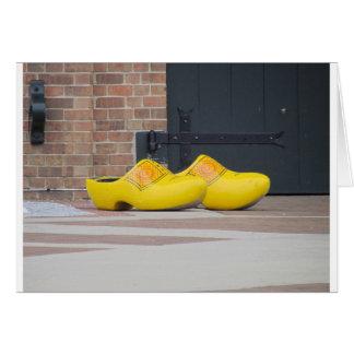 Cartão Pella, Iowa, calçados holandeses de madeira