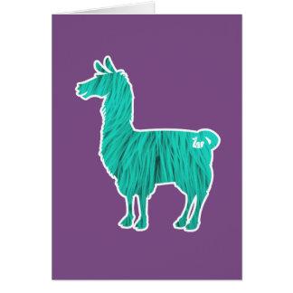 Cartão peludo do lama de turquesa