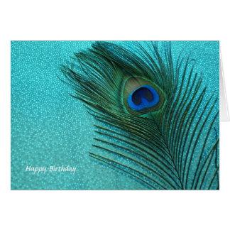 Cartão Pena azul do pavão do Aqua metálico